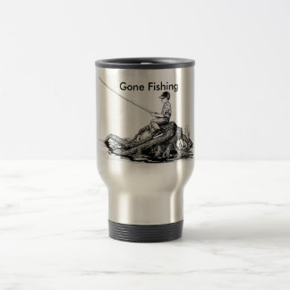 Gone Fishing Coffee Cup 15 Oz Stainless Steel Travel Mug