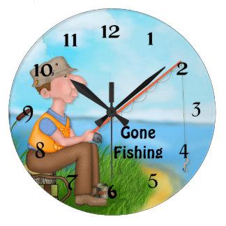 Gone Fishing Fisherman Wallclock