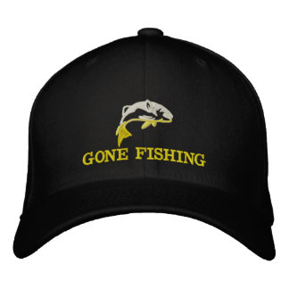 Gone fishing fishermans embroidered hat