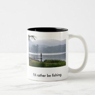 Gone Fishing, I'd rather be fishing. Two-Tone Coffee Mug