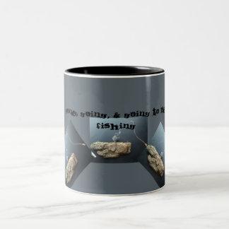 Gone, Going & Going to Be Fishing Two-Tone Coffee Mug