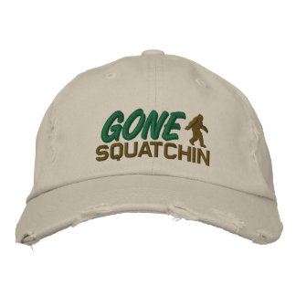 Gone Squatchin - black white and green Embroidered Hat