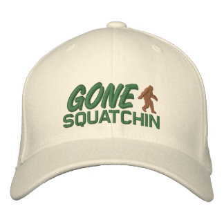 Gone Squatchin - brown and green Embroidered Baseball Caps