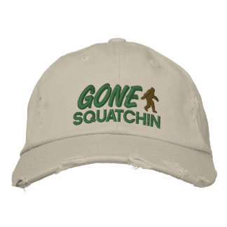 Gone Squatchin - green and brown stitching Embroidered Baseball Caps