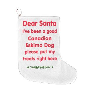 good Canadian Eskimo Dog Large Christmas Stocking