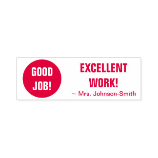 """""""GOOD JOB! EXCELLENT WORK!"""" + Smiling Face Self-inking Stamp"""