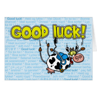 good luck cow - skydive greeting card