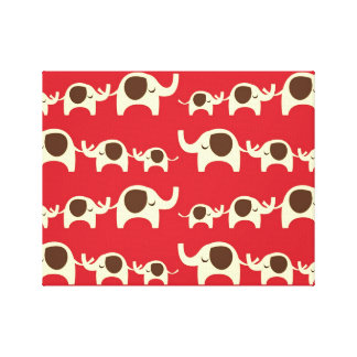 Good luck elephants cherry red cute nature pattern gallery wrapped canvas