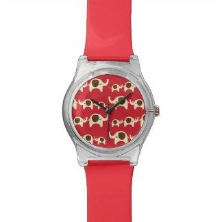 Good luck elephants cherry red cute nature pattern watch