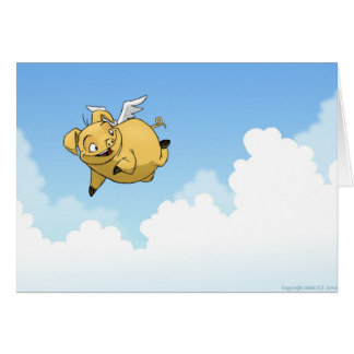 Good Luck! (Flying Pig) Greeting Card