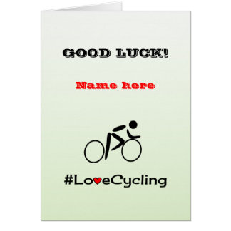 Good Luck personalise cycling Greeting Card