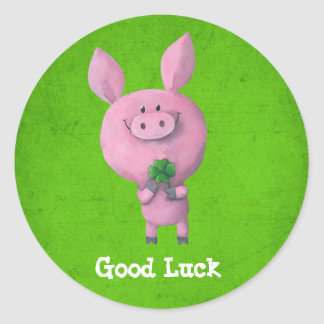 Good Luck Pig Round Sticker