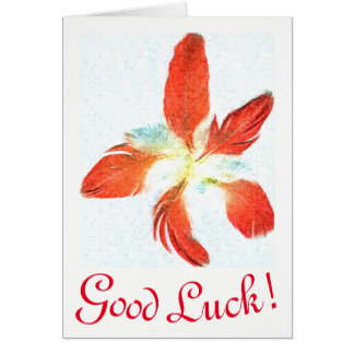 Good Luck, Red Feathers greeting card