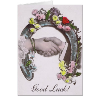 Good Luck Vintage Horseshoe Greeting Card