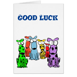 Good Luck with cartoon dogs Card