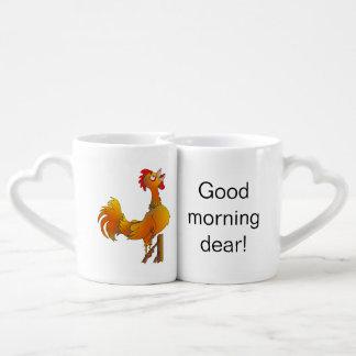 Good morning dear, Crowing rooster Lovers Mug Set