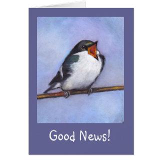 Good News: Announcement: Baby Bird, Oil Pastel Card