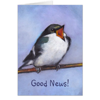 Good News: Announcement: Baby Bird, Oil Pastel Greeting Card