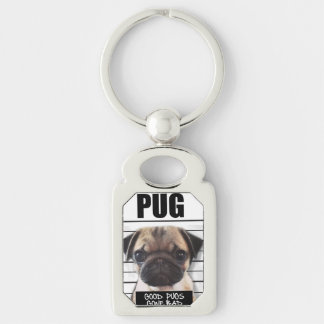 good pugs gone bad Silver-Colored rectangle key ring