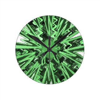 Goodluck Green Sparkle star modern abstract art Round Clock