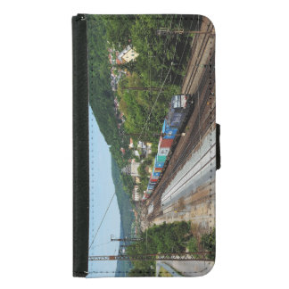 Goods train in Gemünden at the Main Samsung Galaxy S5 Wallet Case