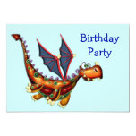Goofy Flying Dragon Birthday Party Personalised Announcements