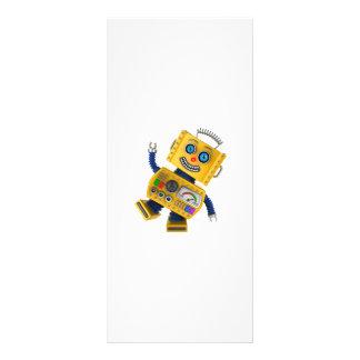 Goofy yellow toy robot rack cards