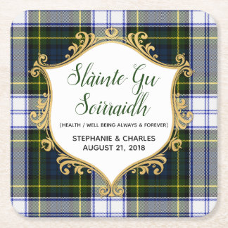 Gordon Dress Plaid Gaelic Wedding Paper Coasters
