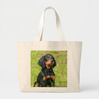 Gordon Setter Attentive Black Dog Puppy Large Tote Bag