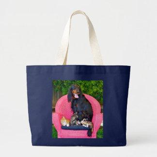 Gordon Setter & kittens Large Tote Bag