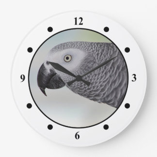 Gorgeous African Grey Parrot Large Clock