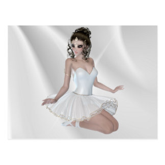 Gorgeous Brunette Ballerina in White Dress Postcard