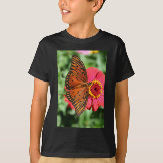 Gorgeous Butterfly on Red Zinnia Design. T-Shirt