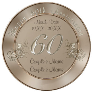 Gorgeous PERSONALIZED Traditional 60th Anniversary Plate