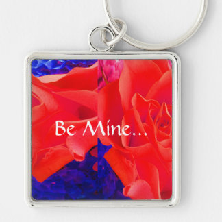 Gorgeous Red Red Rose X Silver-Colored Square Key Ring