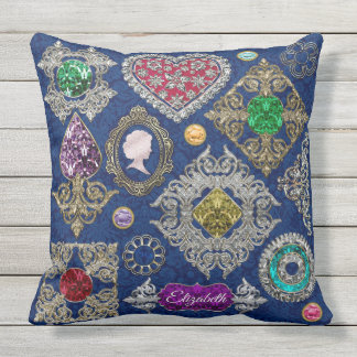 Gorgeous Victorian Jewelry Brooch Gemstone Collage Outdoor Cushion