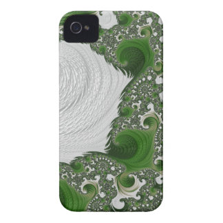 Gorgeous White and Green Fractal Twists Case-Mate iPhone 4 Case