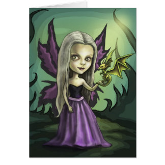 Gorhic Fairy and Baby Dragon Card