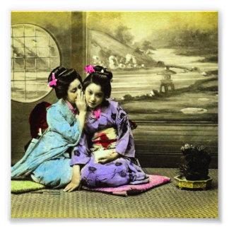 Gossip Geisha Girls of Old Japan Vintage Japanese Photographic Print