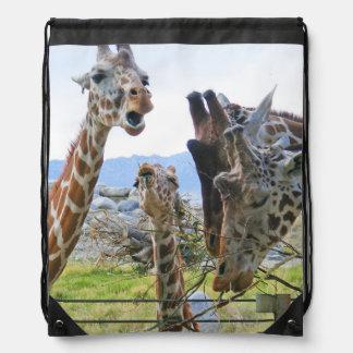 Gossiping Giraffes Drawstring Bag