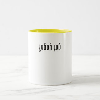 got yoga? (upside down) Two-Tone coffee mug