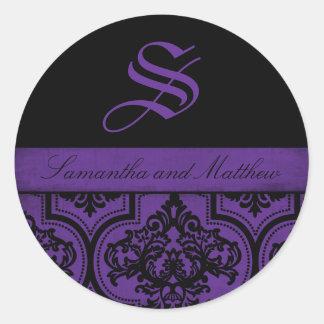 Goth Damask Grunge Monogram Label Round Sticker