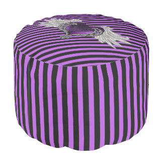 Goth Purple Heart with Angel Wings Round Pouf