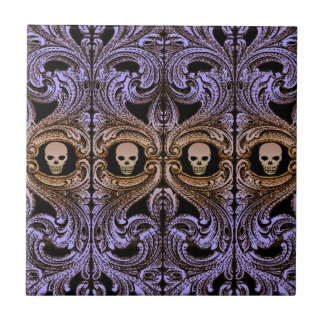 Goth Purple Ornament and Skull Tile
