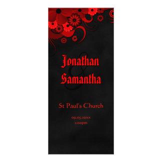 Goth Red Floral Black Chalkboard Wedding Programs Rack Card