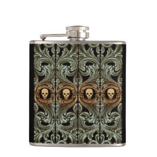 Goth Sage Green Ornament With Skull Hip Flask