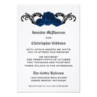 Goth Swirl Roses Wedding Invite, Blue 13 Cm X 18 Cm Invitation Card