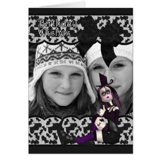 gothic birthday photo card with ribbon and lace -