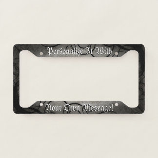 Gothic Black And Grey Swirls Personalised Licence Plate Frame