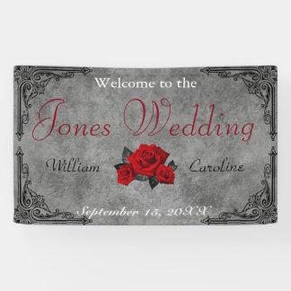 Gothic Black and White Rose Wedding Banner